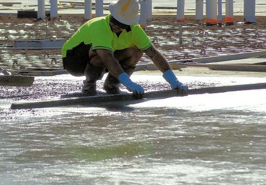 screeding concrete padpad